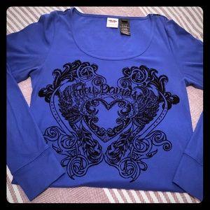 HD Cobalt Blue Embellished Long Sleeve Shirt